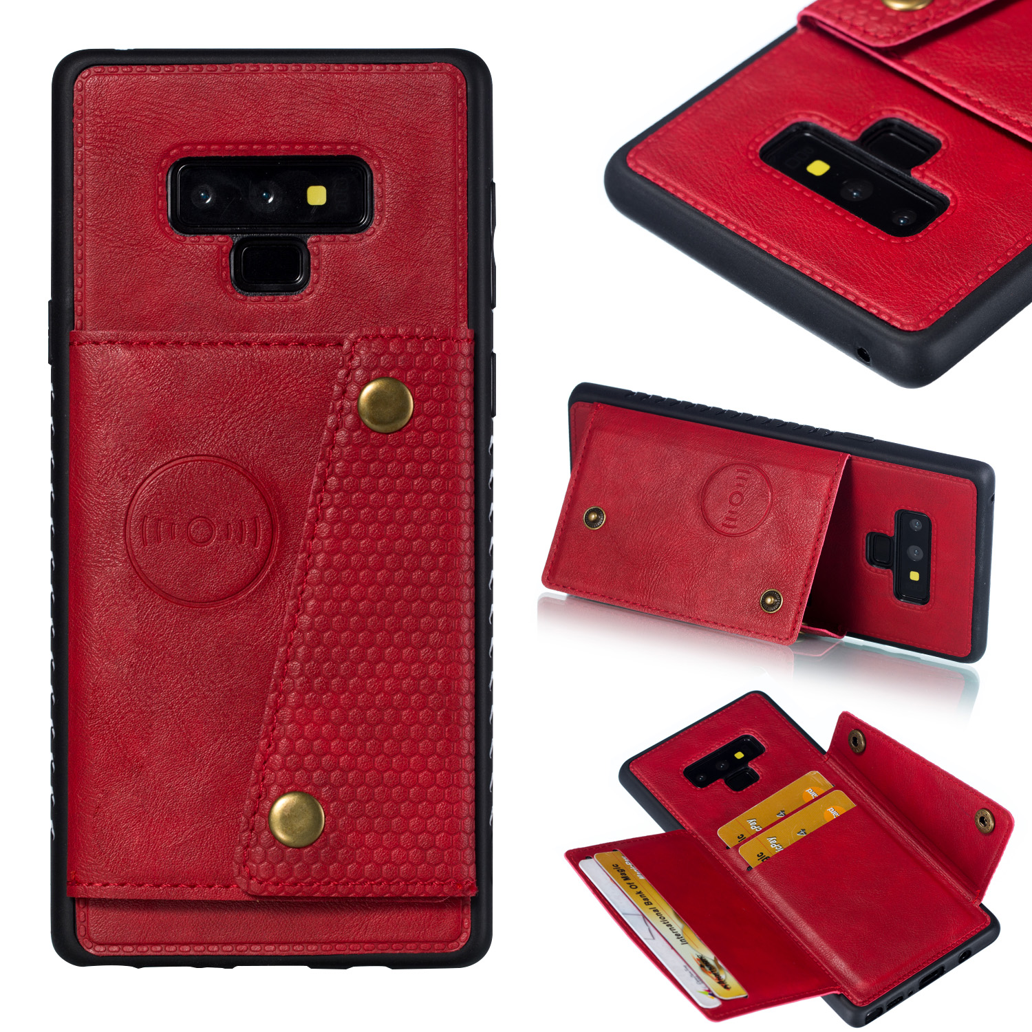 For Samsung NOTE 9 Phone Case Protective Back Cover with Card Holder Bracket red_Samsung NOTE 9