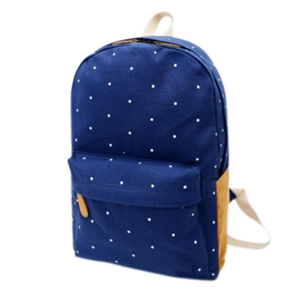 Girl Students Canvas Fashionable Cute Dots Pattern Backpack Portable Shoulder Bag