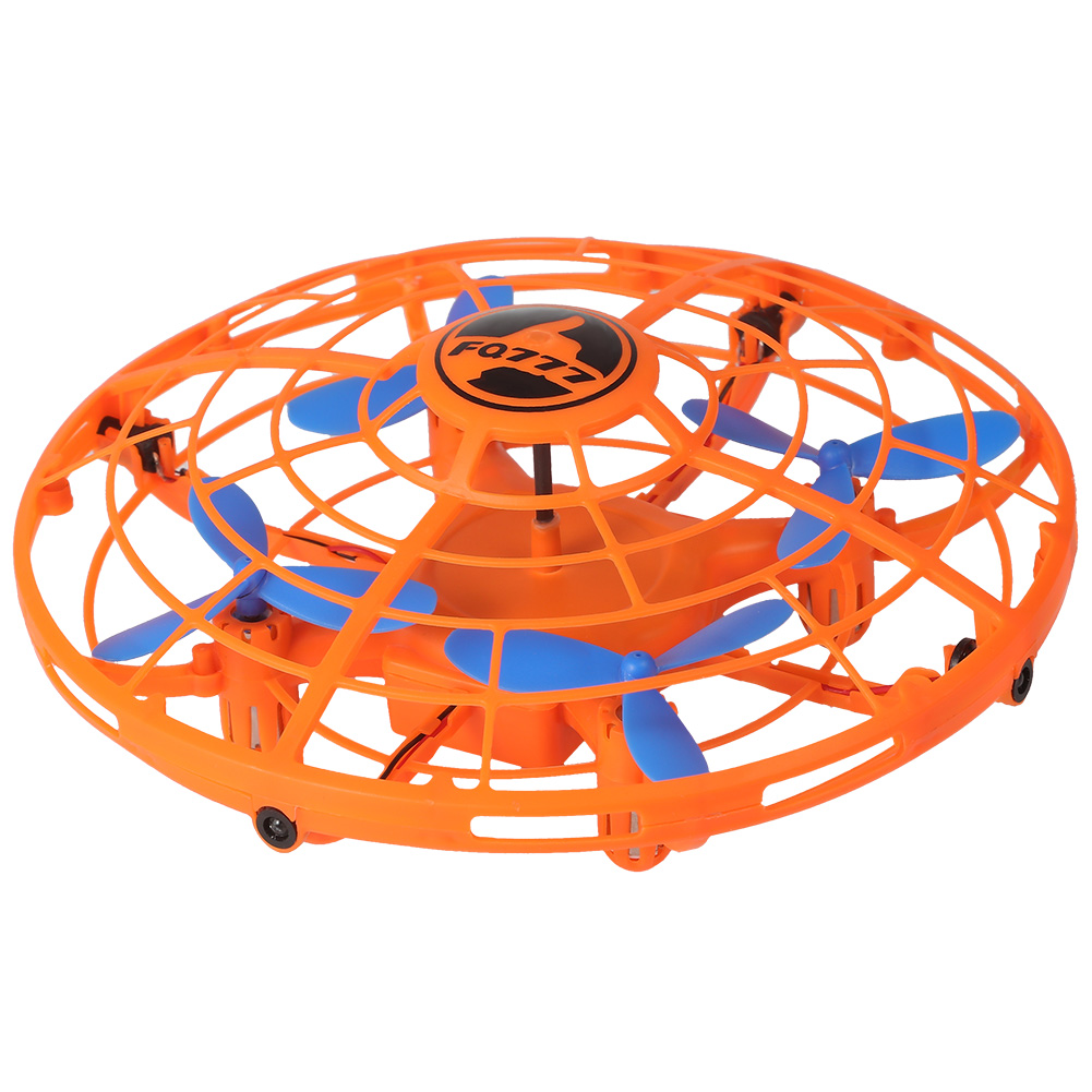 LED Mini Drone Flying Spinner Stress Relief Flying Induction RC Helicopter Funny Toy Orange
