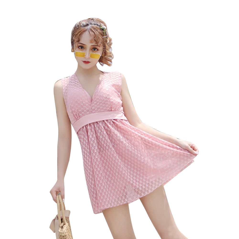 Female  Swimsuit  Skirt-style One-piece Sexy Lace Skirt Conservative Fresh Swimsuit Pink_M