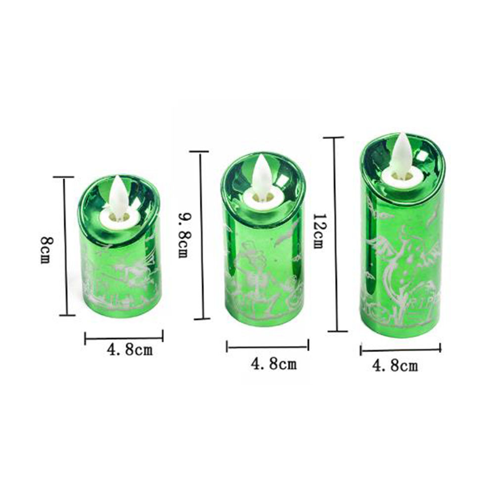 Halloween Decoration Creative Halloween Simulation Candle Light for Home Party Bar Atmosphere Lamp Candle green small