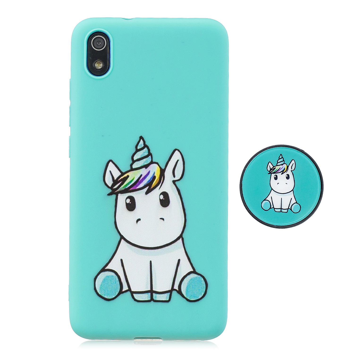 For Redmi 7A Soft TPU Full Cover Phone Case Protector Back Cover Phone Case with Matched Pattern Adjustable Bracket 5