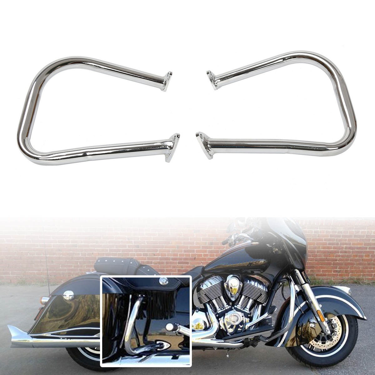 Motorcycle Rear Highway Bars For Indian Chief Chieftain 14-19 Roadmaster silver