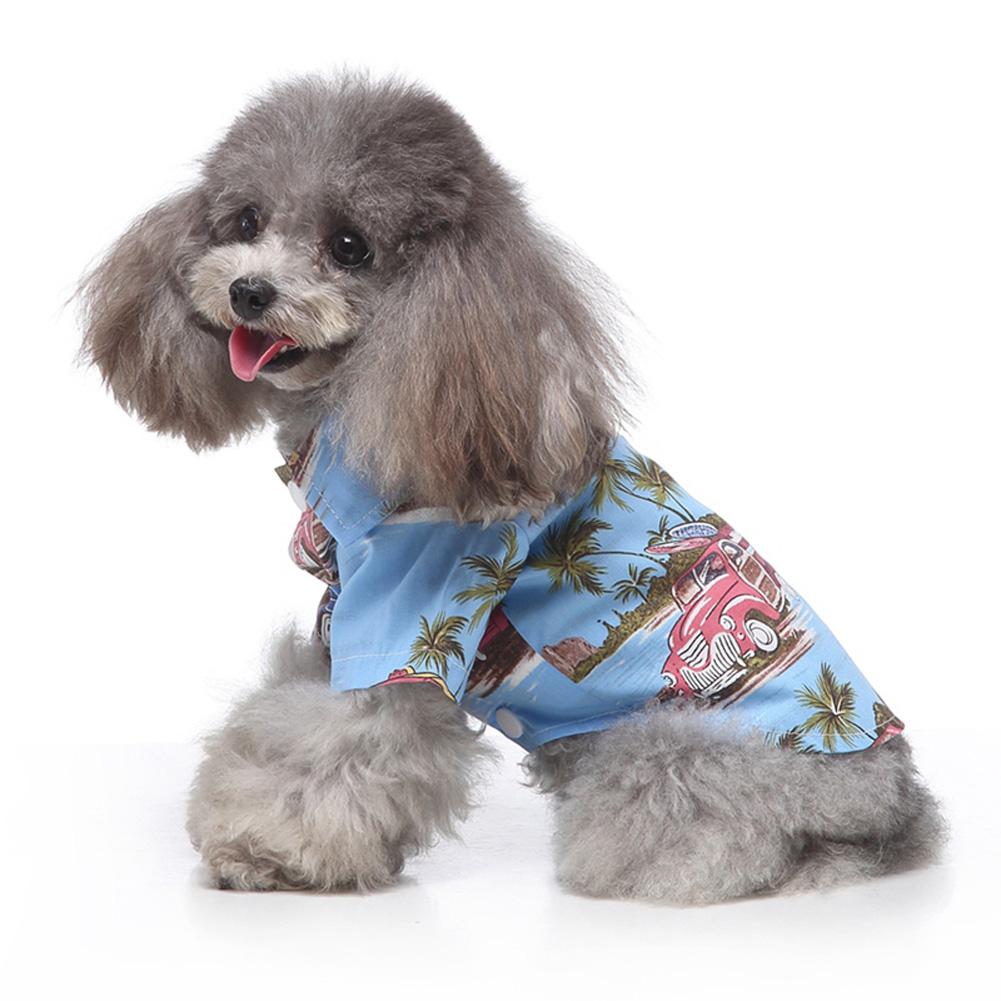 Pet Dog Shirts Clothes Summer Beach Shirt Vest Hawaiian Travel Blouse blue_S
