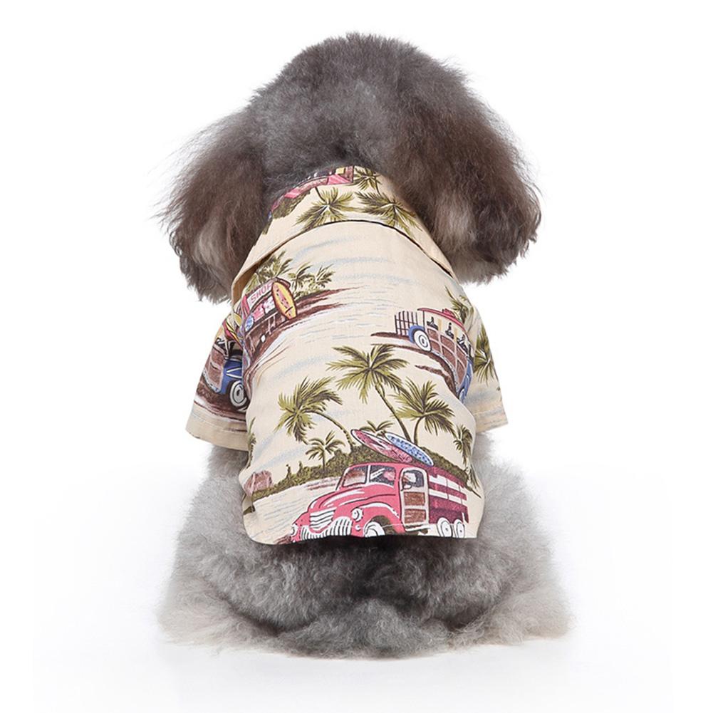 Pet Dog Shirts Clothes Summer Beach Shirt Vest Hawaiian Travel Blouse Beige_S