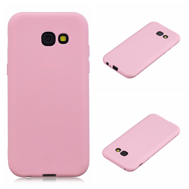 for Samsung A5 2017 Cute Candy Color Matte TPU Anti-scratch Non-slip Protective Cover Back Case dark pink