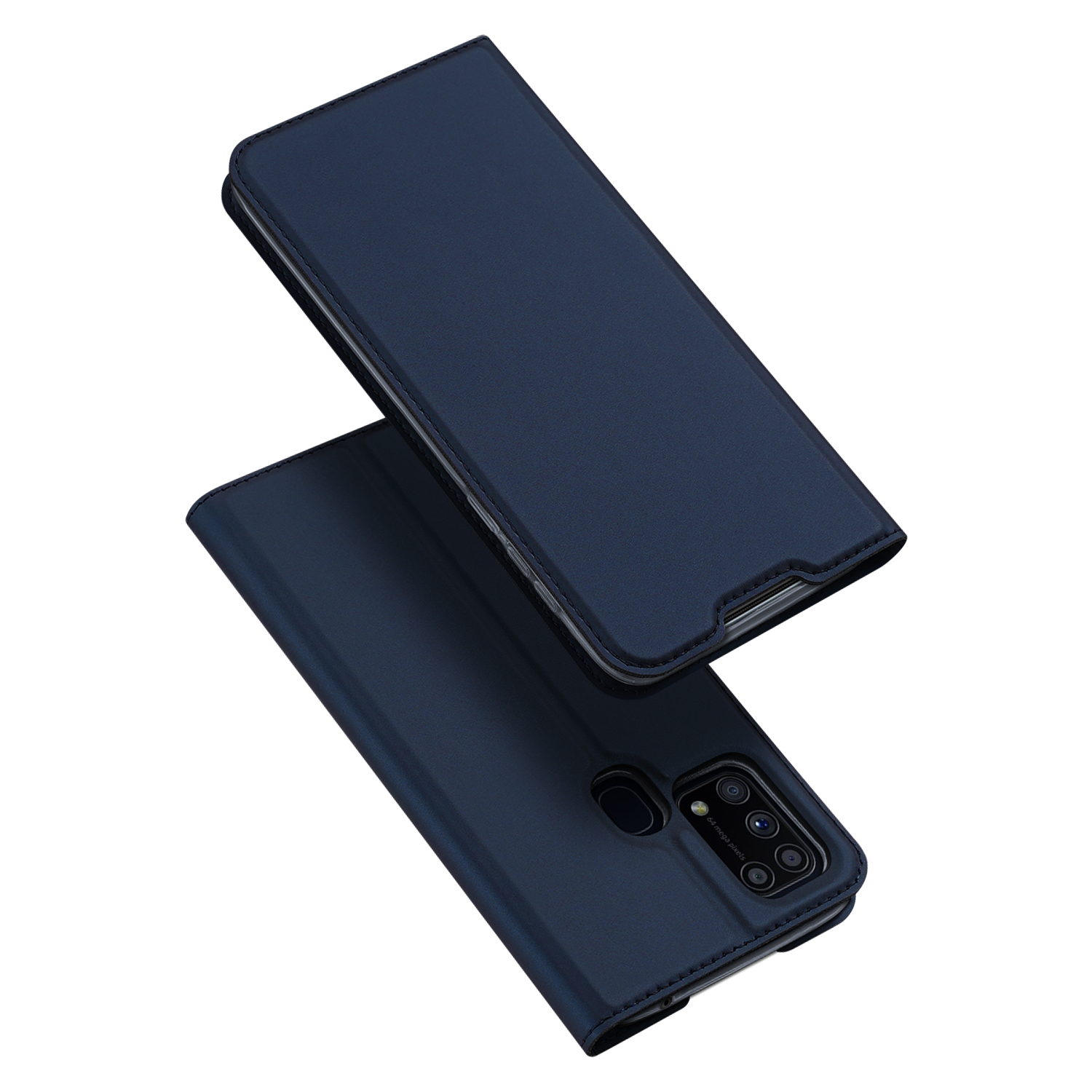 DUX DUCIS For Samsung M31 Leather Mobile Phone Cover Magnetic Protective Case Bracket with Cards Slot blue