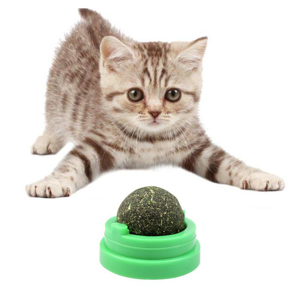 Rotating Catnip Mint Ball Cat Natural Snacks Licking Sugar Teeth Cleaning Grinding Toy green