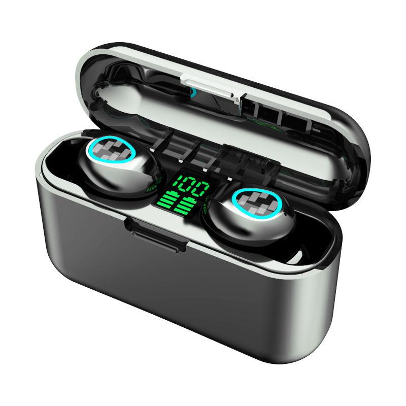 Wireless Bluetooth Earphones TWS Sport Stereo In-ear Bass Portable Earphones black_R8