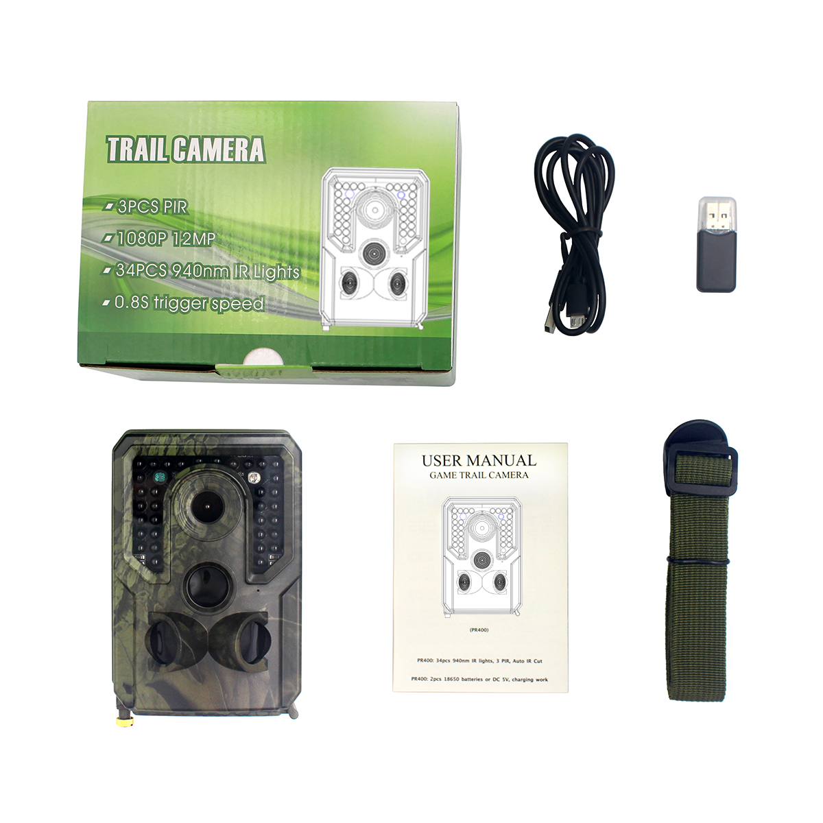 Outdoor Trail Camera Wildlife Camera With Night Vision Motion Activated Trail Camera As shown