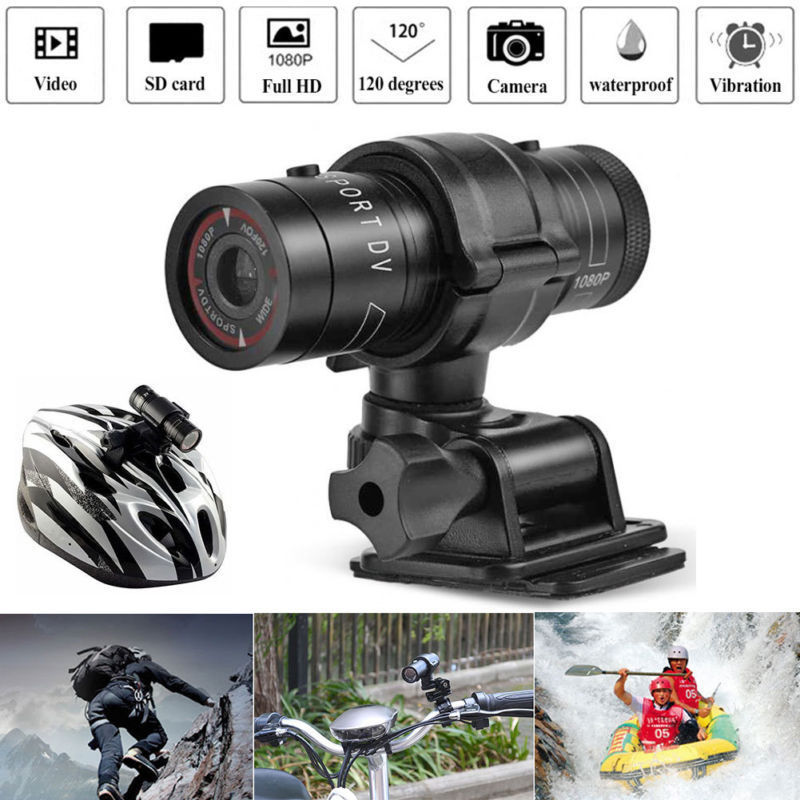 1080p Waterproof HD Mini Metal Helmet Outdoor Camera Motion Camera black