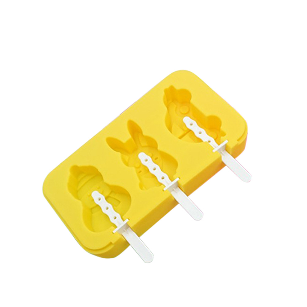 3 Cavities Silicone Ice Cream Mold Reusable Ice Cubes Tray Popsicle Mold with Stick random_Car Snowman Rabbit