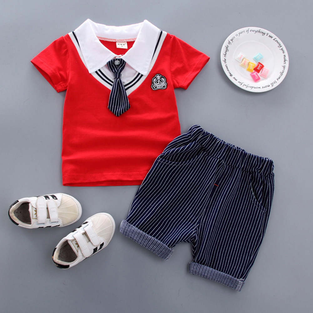 Kids Boys Stripe Printing Tie Short Sleeve T Shirt+Shorts Set BBE chicken heart red_90cm