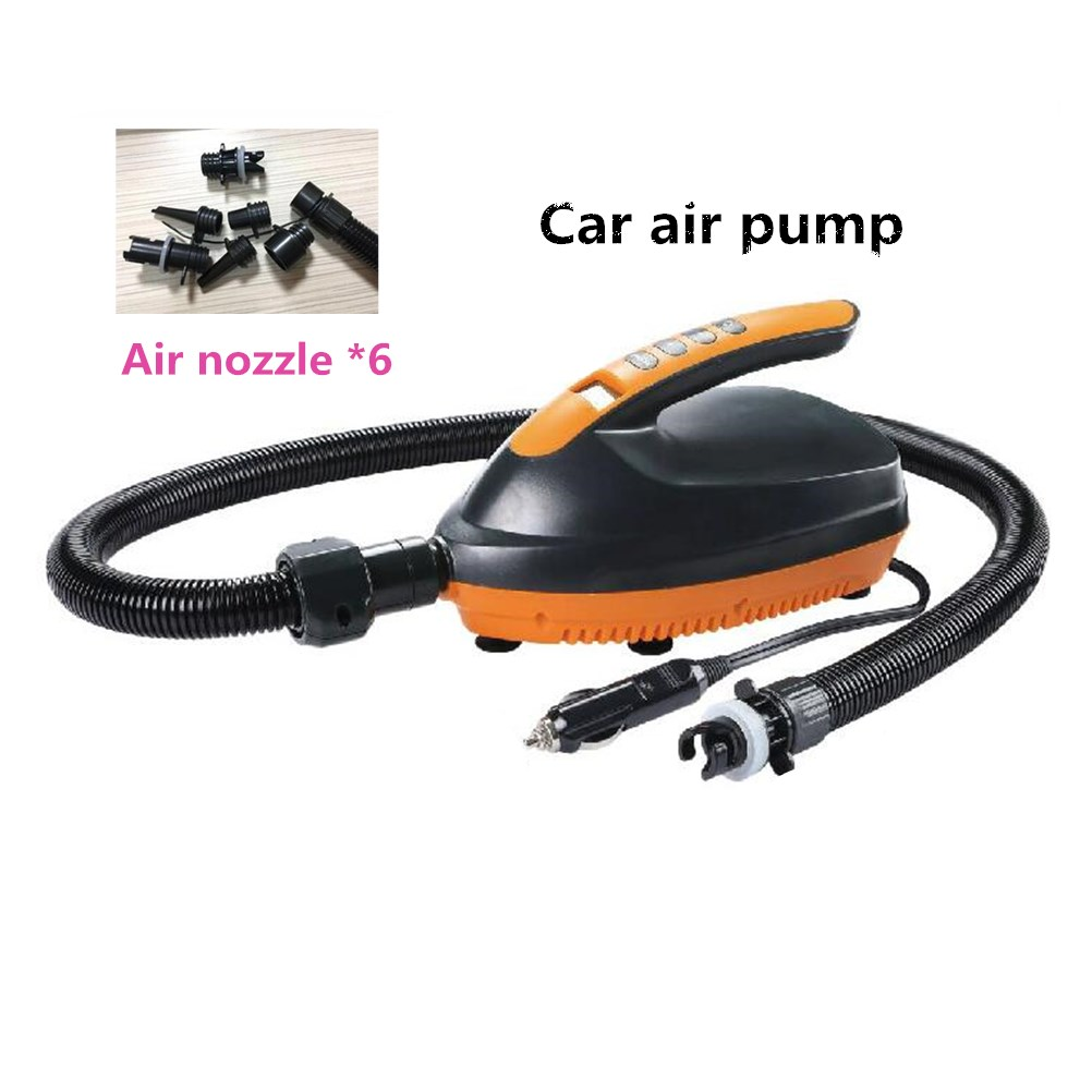 SUP Paddle Direct Current Vehicle Electric Inflatable Booster Pump + 6pcs Air Tap Black with orange