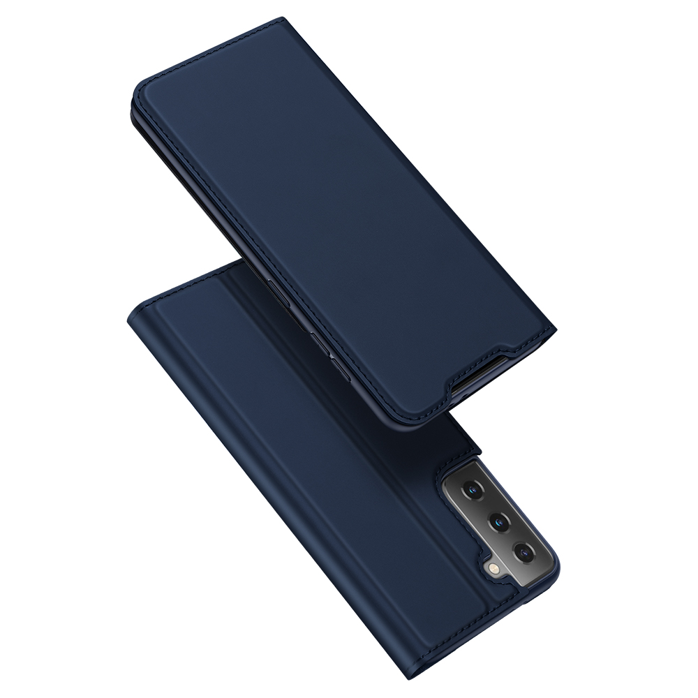 For Galaxy S21/s30 Pu Flip Covers Fall Resistant Card Slot Phone  Cover Protective  Case Royal blue