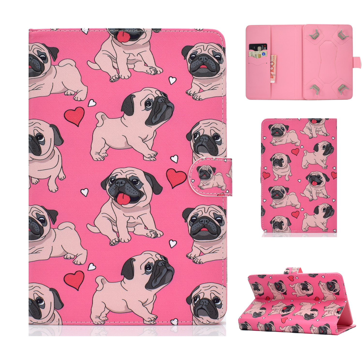 Universal 10Inches Laptop Protective Case with Front Snap Cute Cartoon Color Painted PU Cover  Caring dog