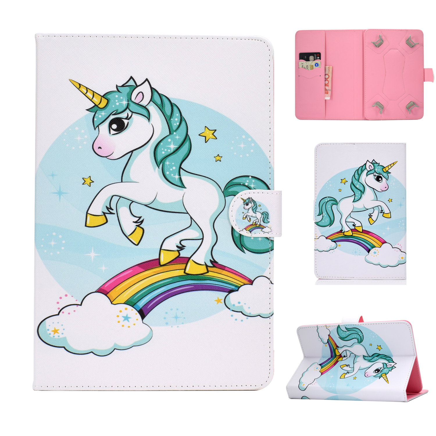 Universal 10Inches Laptop Protective Case with Front Snap Cute Cartoon Color Painted PU Cover  single horned horse