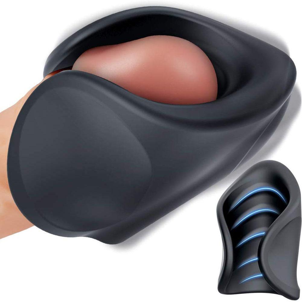 Vibrating Handhold Penis Vibrator Massager Male Masturbator with 10 Modes Adjustable Sex Toy black