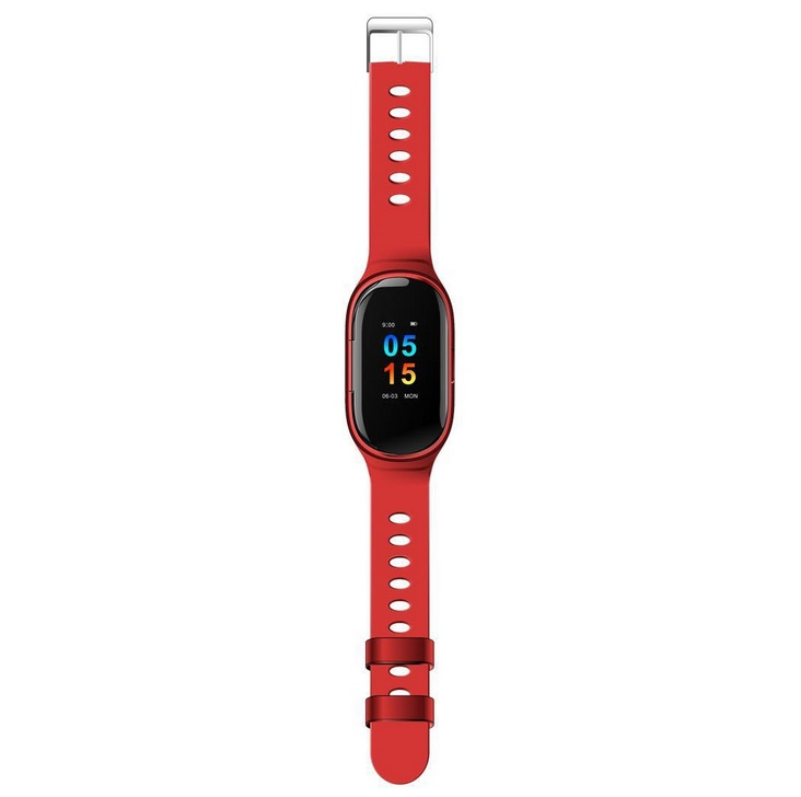 Smart Watch Bracelet & Wireless Bluetooth Headset 2-in-1 Sports Smart Bracelet Invisible Magnetic Charging Earbuds  English red