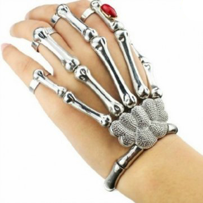 Cool Punk Rock Skeleton Skull Hand Ring Bracelet Bone Rivet Halloween Decro Party Prop Silver