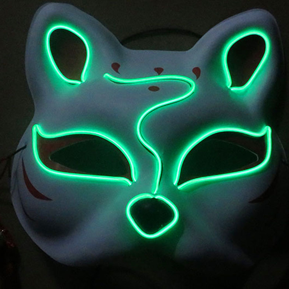 Half-Faced LED Light Emitting Japanese styel Mask for Halloween Dress up Party Dance 16X18CM Green