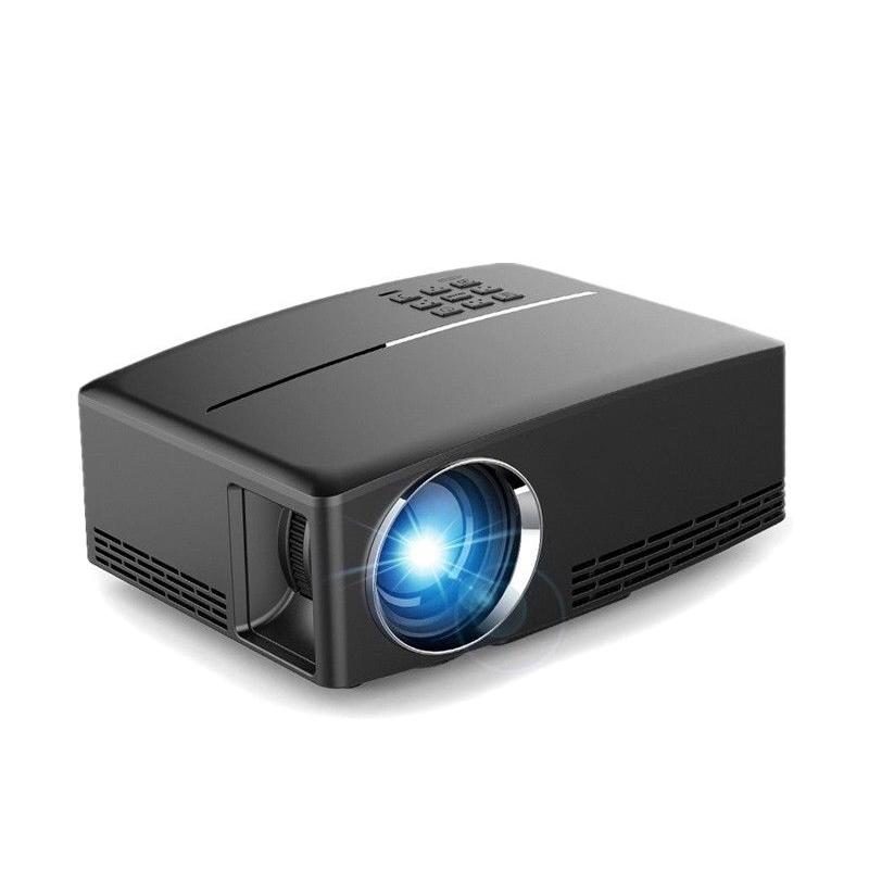 GP80 Mini Projector 1080P HD Beamer Portable Multimedia System Home Theater with 1800 Lumens Brightness HDMI/USB/AV/VGA/Audio Port black_EU Plug