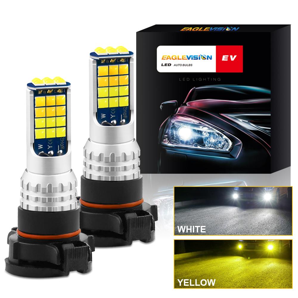 1 Pair Aluminum Car V6 High-brightness Dual-color Fog Lamp Car Light 5202