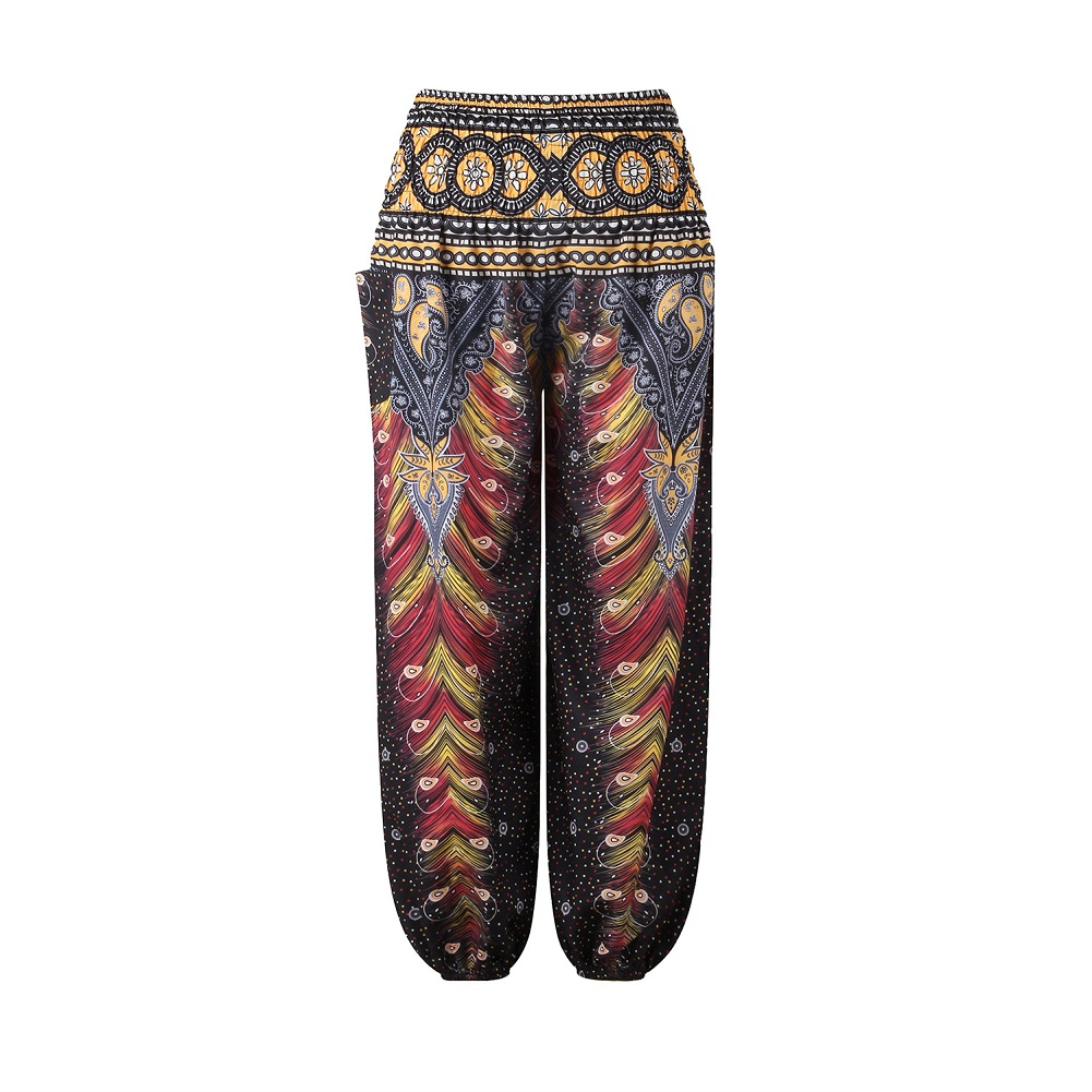 Mother-daughter Boho Beach Pants Digital Print High-waisted Casual Yoga Pants