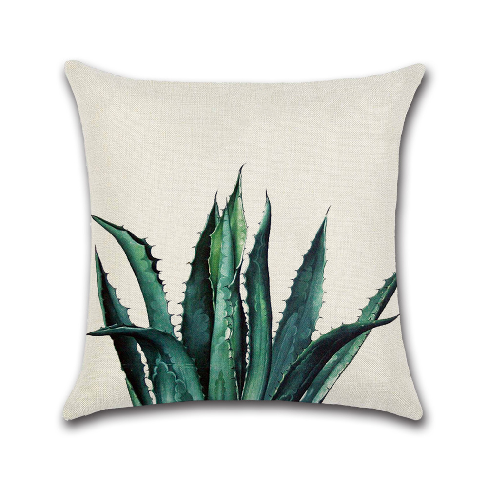 Modern Leaves Printing Throw Pillow Cover without Filling Inner Tropical plants 15_45*45cm