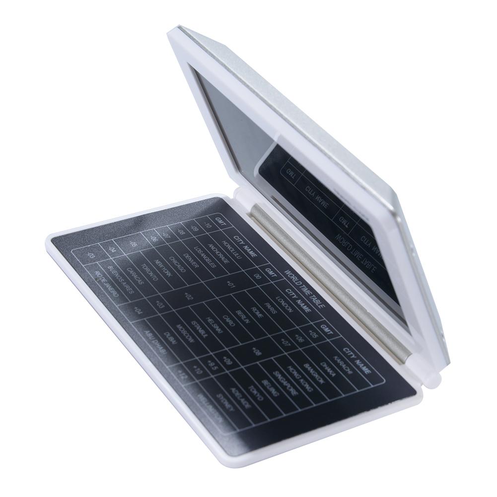 [EU Direct] Multifunction Silent LCD Digital Large Screen Travel Desk Electronic Alarm Clock, Date/Time/Calendar/Temperature Display, Snooze, Folding (White+Silver)