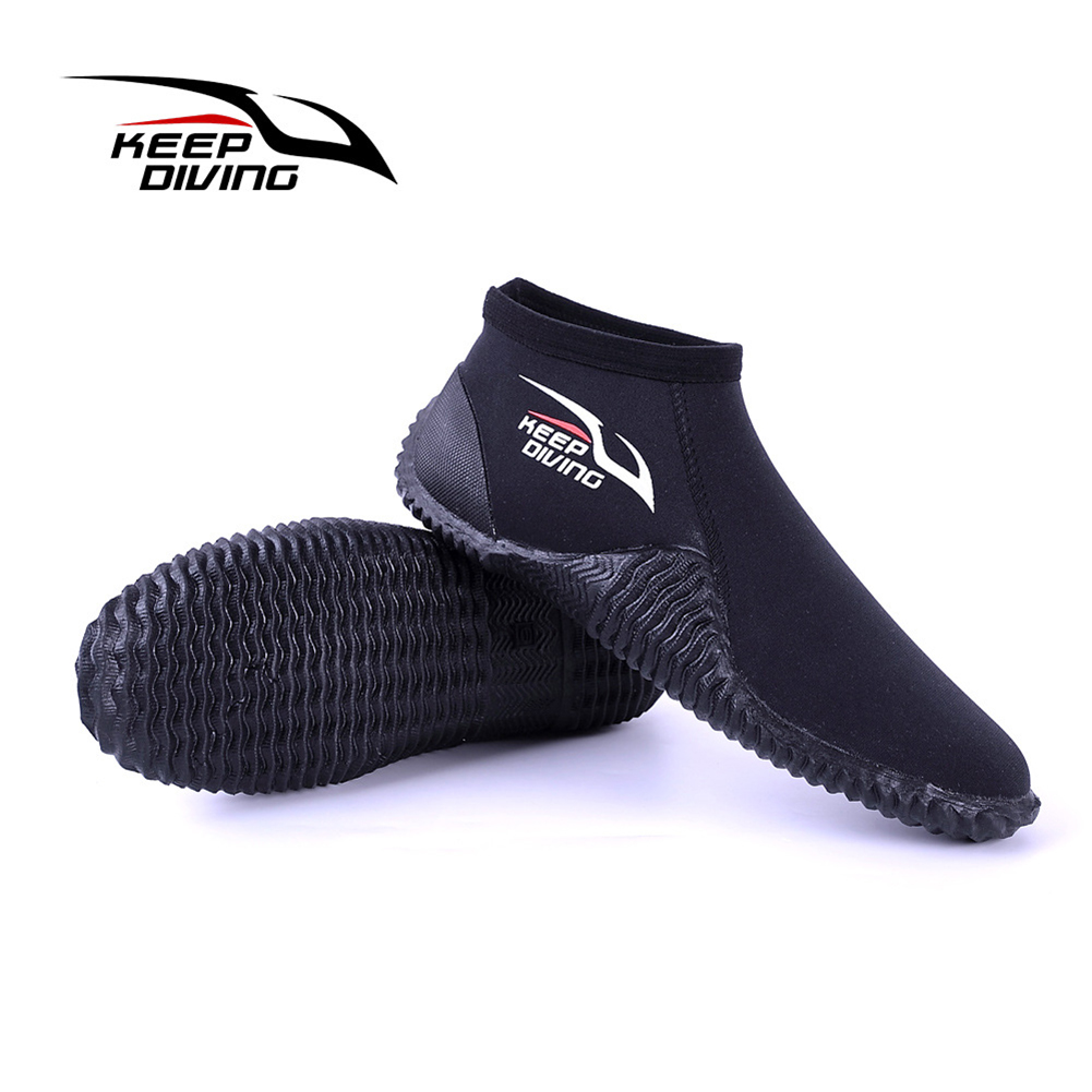 4MM Diving Shoes Neoprene Nylon Non-Slip Scuba Diving Boots Low Water Shoes for Beach Surfing Swimming black_M (39-40)