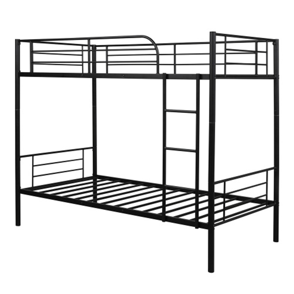 [US Direct] Steel Bunk  Bed Twin Over Twin Bed Frame With Safety Guard Rails Flat Ladder black