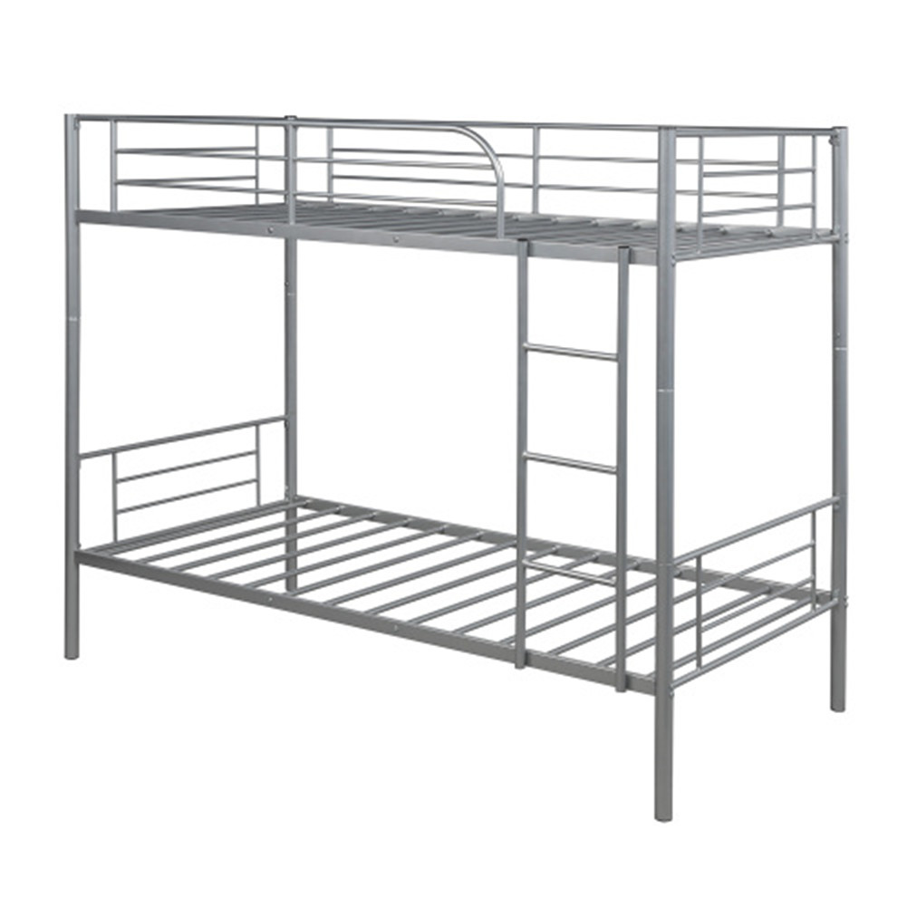 [US Direct] Steel Bunk  Bed Twin Over Twin Bed Frame With Safety Guard Rails Flat Ladder Silver