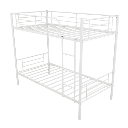[US Direct] Steel  Bunk  Bed Twin Over Twin Bed Frame With Safety Guard Rails Flat Ladder white