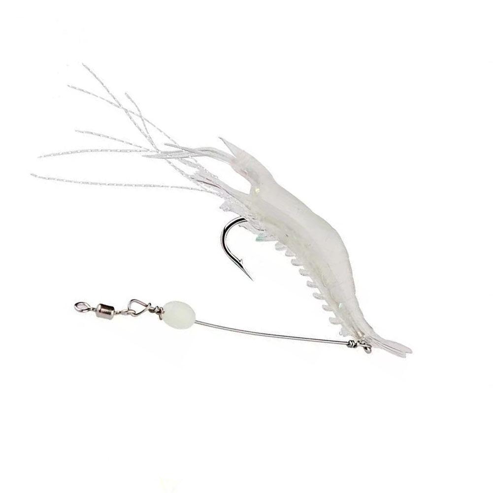 9cm Simulation Prawn Fishing lure Multicolor Luminous Tackle Bait Sea fishing Soft bait fishing tool 6#White luminous