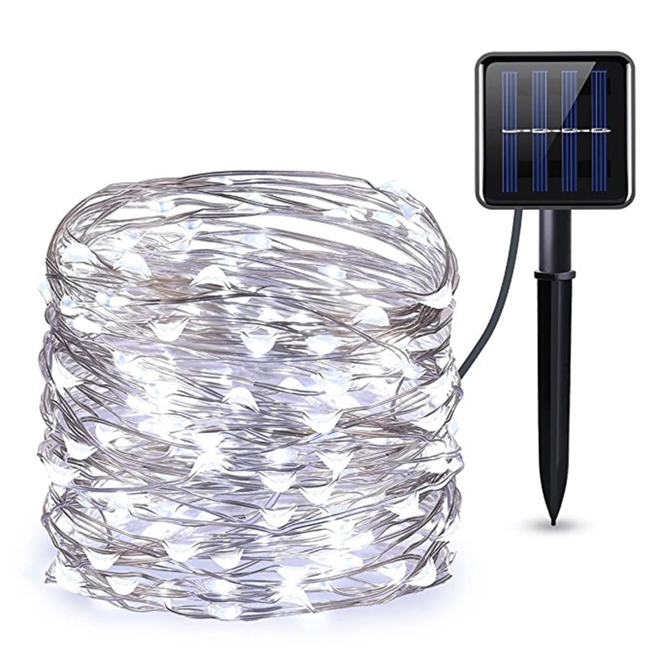 Solar Copper Wire String Light with 8 Modes 10M/20M/30M 100LED/200LED/300LED