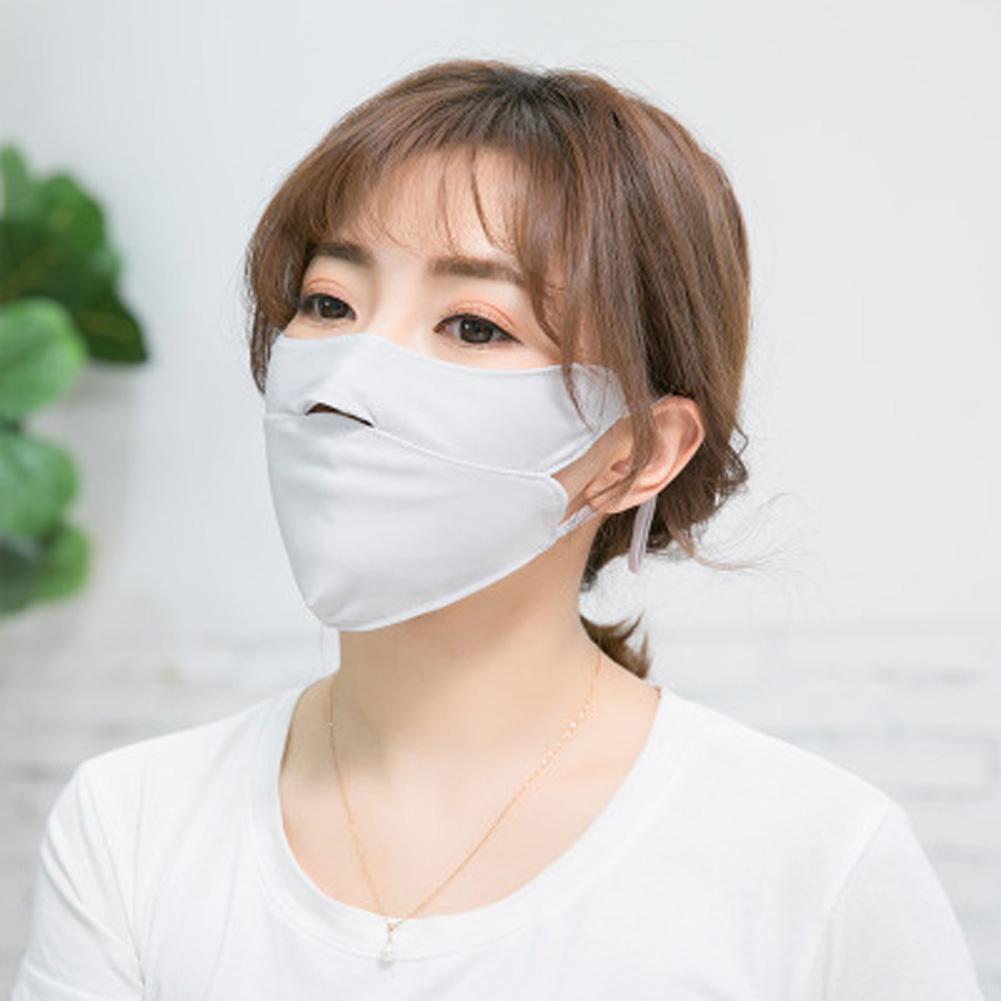 Men Women Anti-haze Mask Riding Ice Silk Dust-proof Suncreeen Breathable Mask Ice silk gray_One size