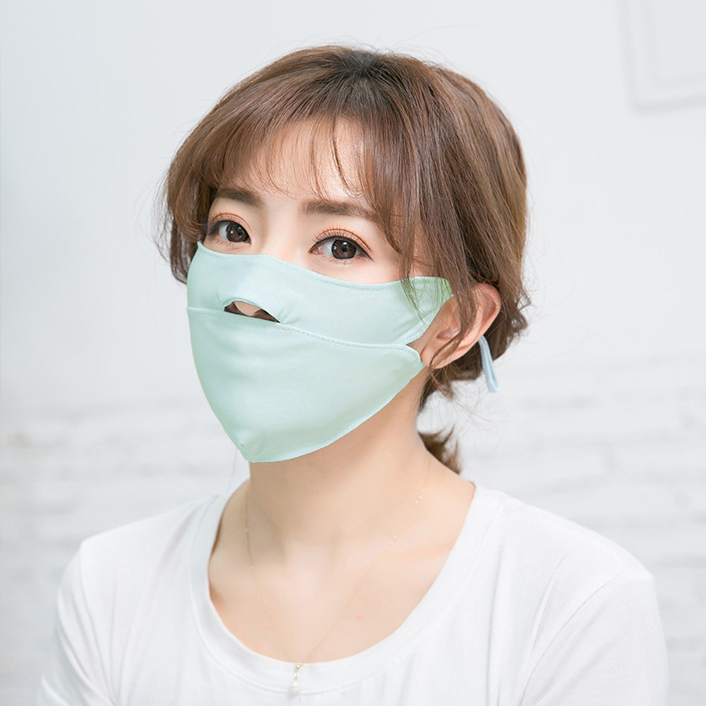 Men Women Anti-haze Mask Riding Ice Silk Dust-proof Suncreeen Breathable Mask Ice silk light green_One size