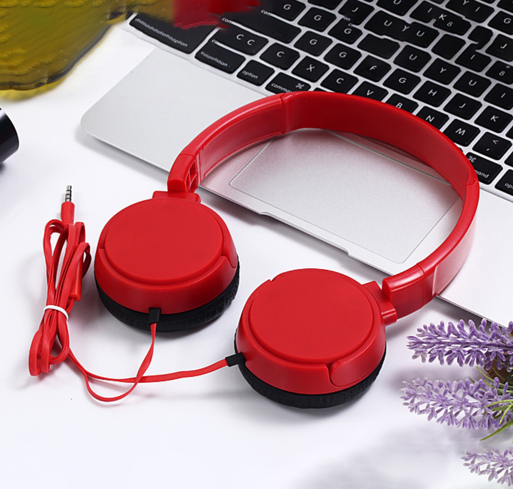 J08 Wired Earphone Universal Gaming Headset with Microphone for Computer red