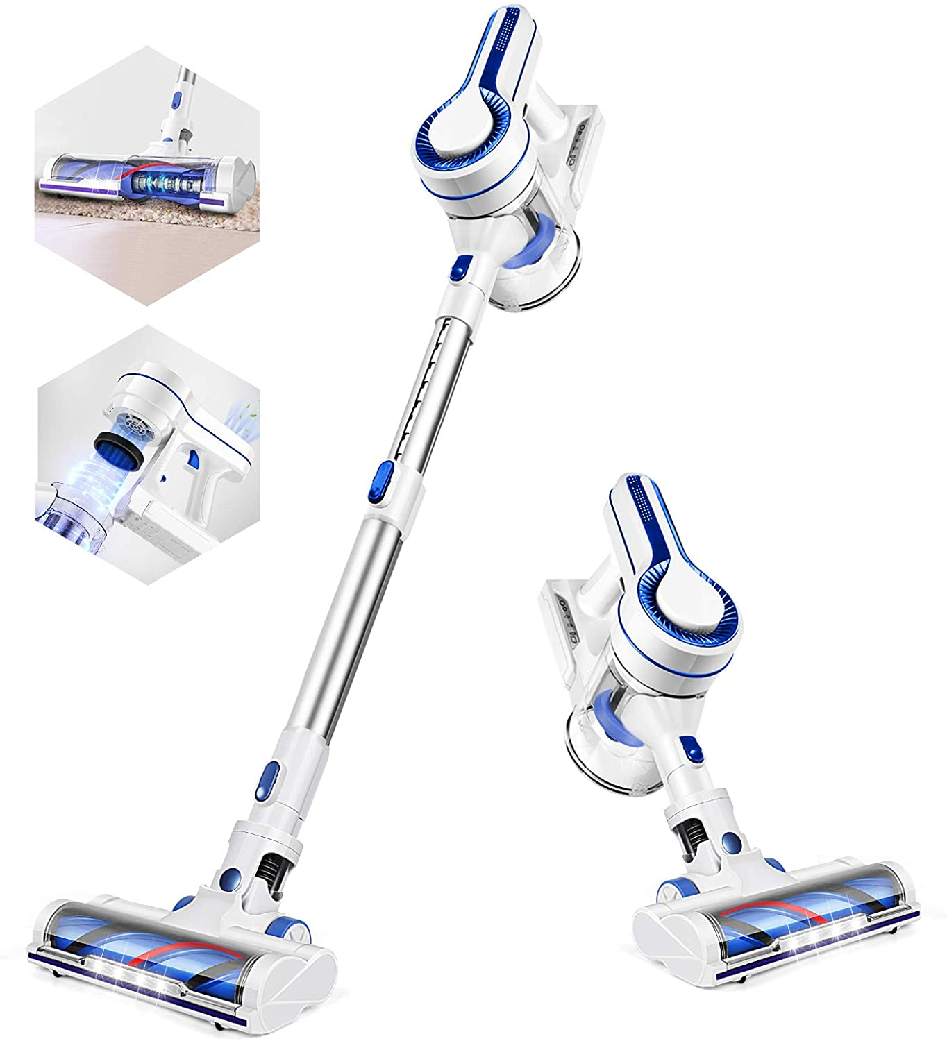 [US Direct] APOSEN Cordless Vacuum Cleaner,14KPA Powerful Suction Stick Vacuum Cleaner 4 in 1 with Rechargeable Battery and 1.2L Large Dust Container, Vac for Hard Wood Tile Floor Car