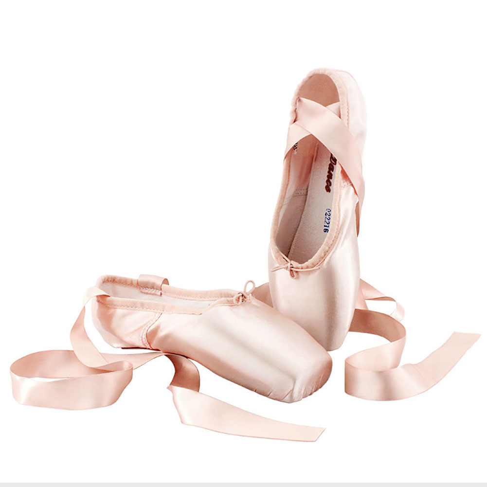 Adult Kids Ballet Shoes Satin Girls Women Professional Dance Shoes with Ribbons Pink_37 yards
