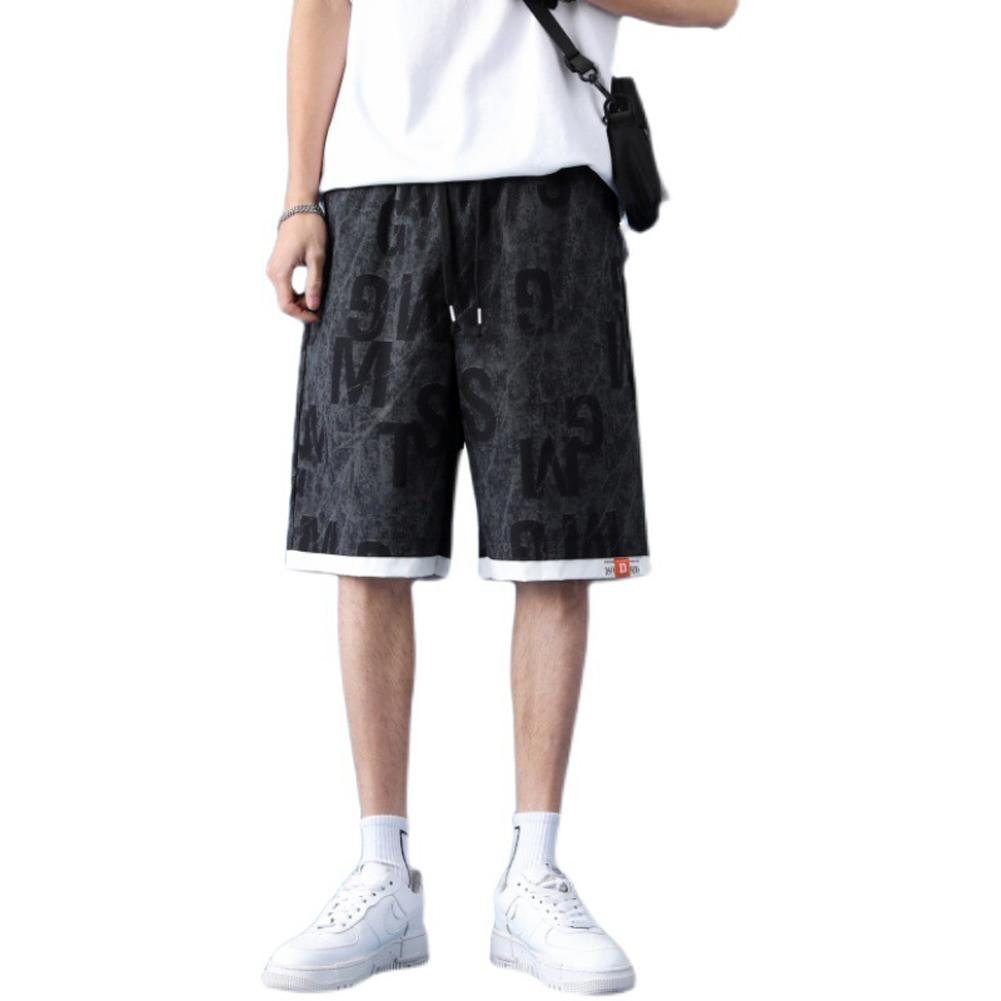 Men  Shorts Summer Thin Casual Overalls Fifth-pants Drawstring Loose Basketball Pants Black_XL