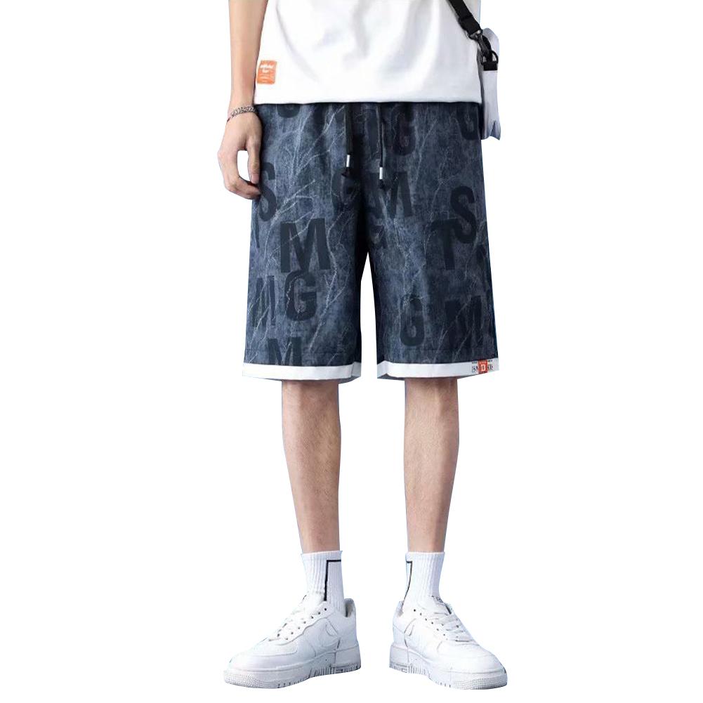 Men  Shorts Summer Thin Casual Overalls Fifth-pants Drawstring Loose Basketball Pants Blue_XL