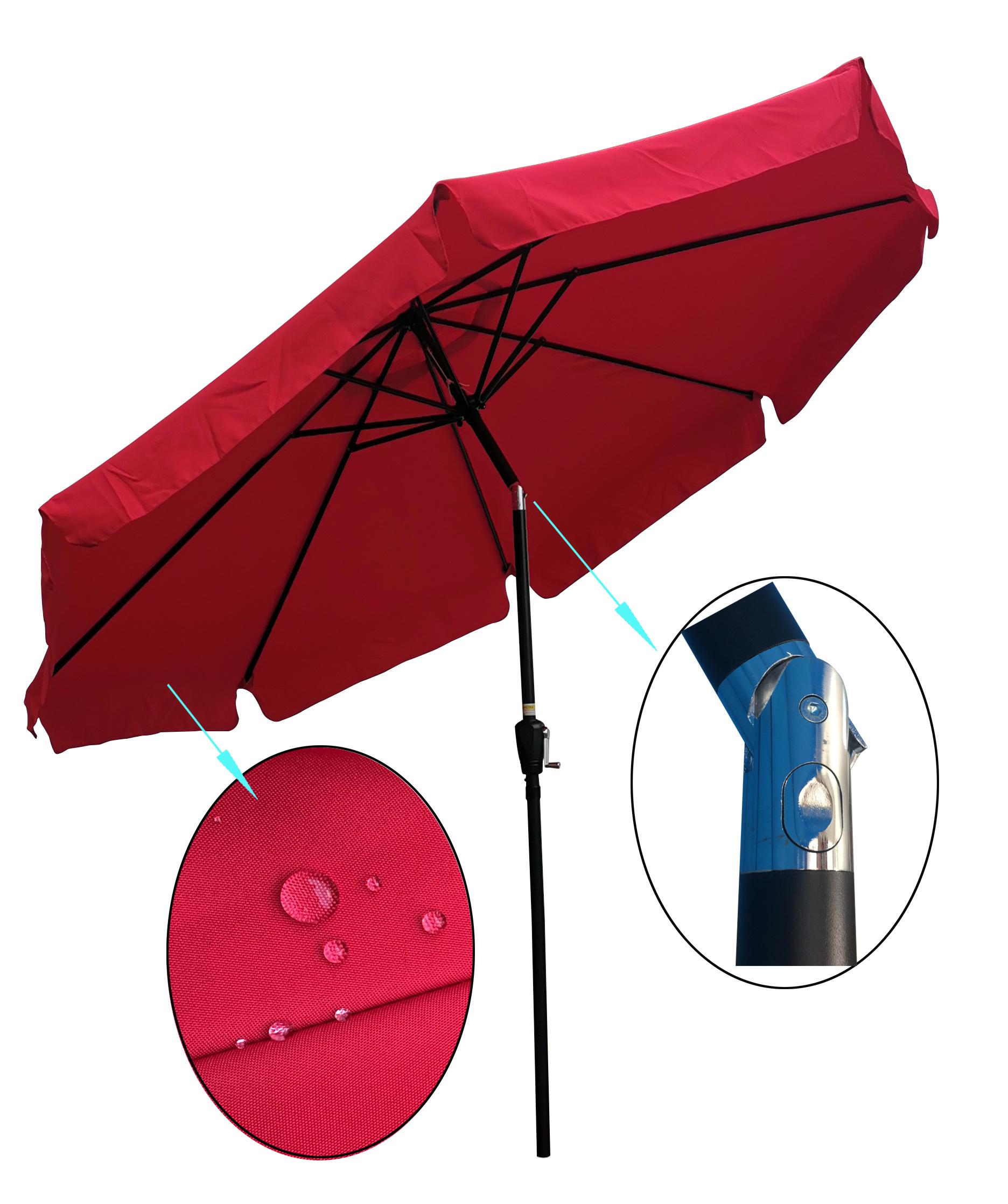 [US Direct] 10ft Patio Umbrella Market Table Round Umbrella Outdoor Garden Umbrellas with Crank and Push Button Tilt for Pool Shade Outside