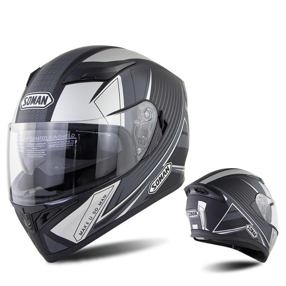 Full Face Motorcycle Helmet Sun Visor Dual Lens Moto Helmet Gray acceleration_XXL