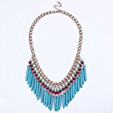 Qiyun (TM) Women`s Turquoise Spike Tassel Fringe Bib Statement Choker Gold Chain Necklace