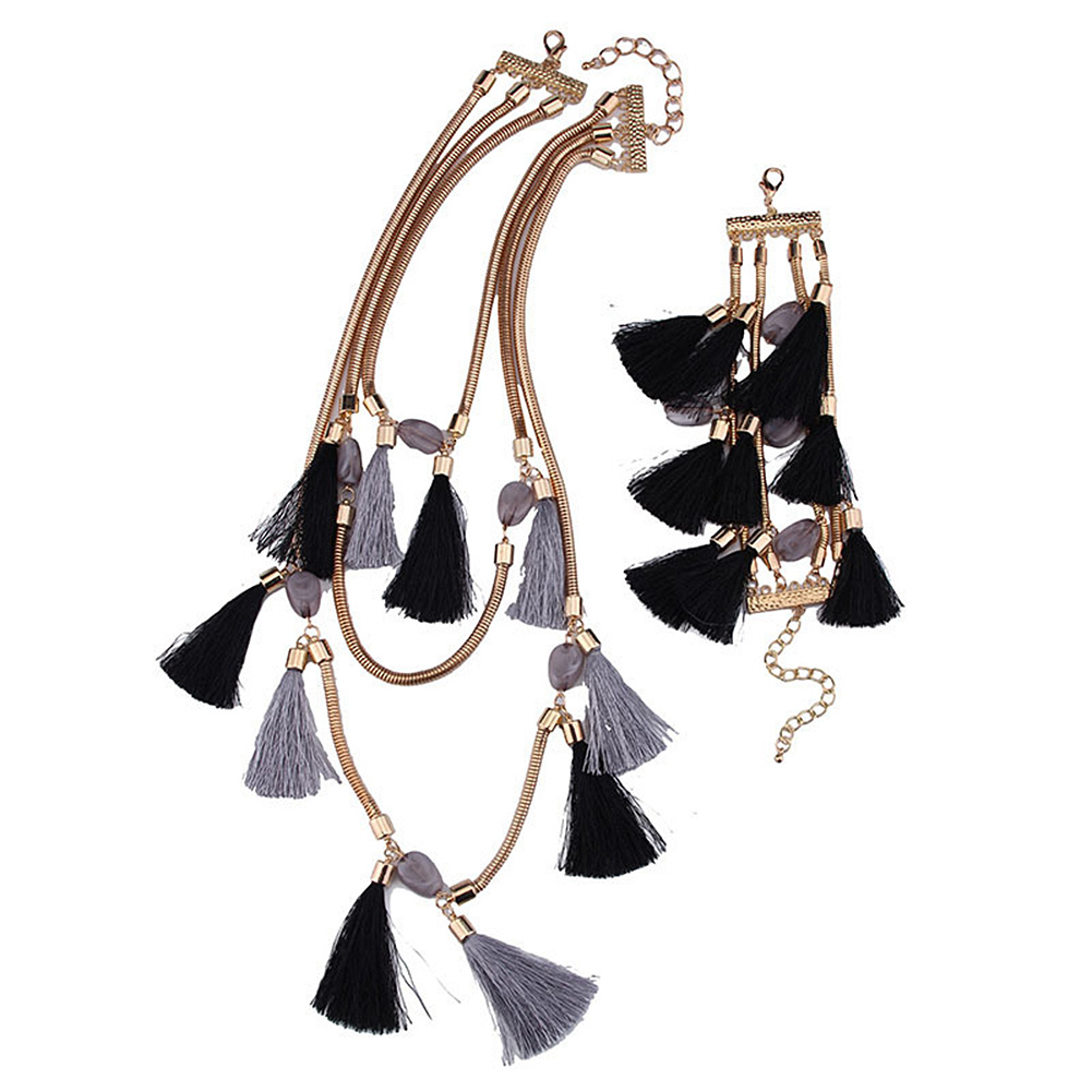 Wool Tassel Alloy Pendant Beaded Women Lady Necklace+Chain Bracelet Suit Valentines Gift