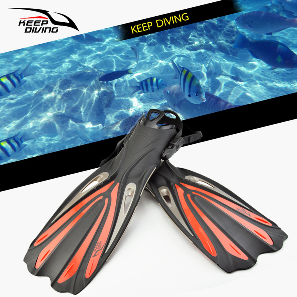 Open Heel Scuba Diving Long Fins Adjustable Snorkeling Swim Flippers Special For Diving Boots Shoes Monofin Gear Black Small (S/M)