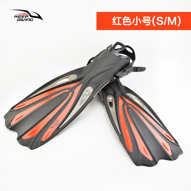 Open Heel Scuba Diving Long Fins Adjustable Snorkeling Swim Flippers Special For Diving Boots Shoes Monofin Gear Red Small (S/M)