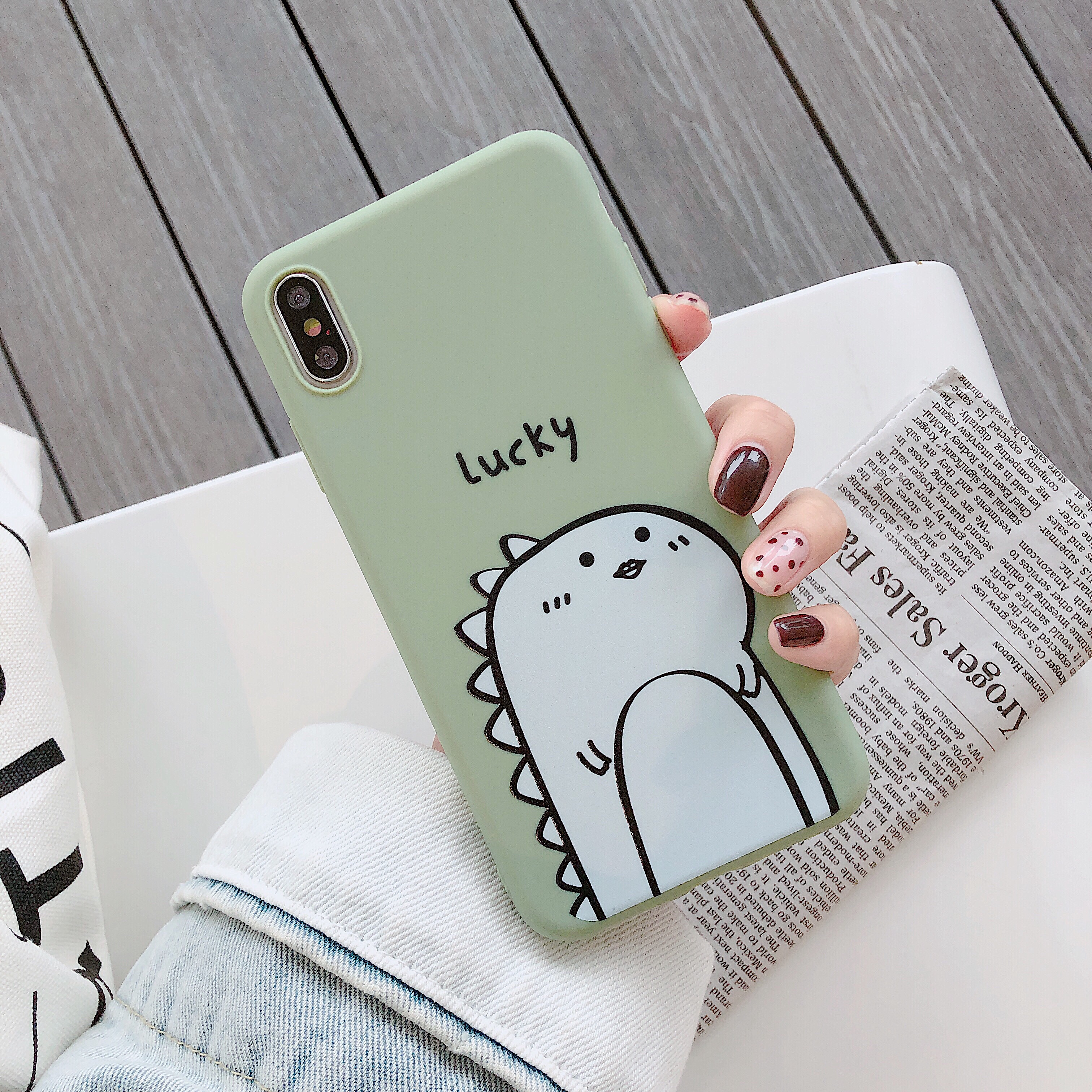 Color Painted Green Background Dinosaur Pattern Phone Case for iPhone 7/8, 7 plus/8 plus, X/XS, XR, XS max TPU Non-slip Shockproof Full Protective Case  Green lucky